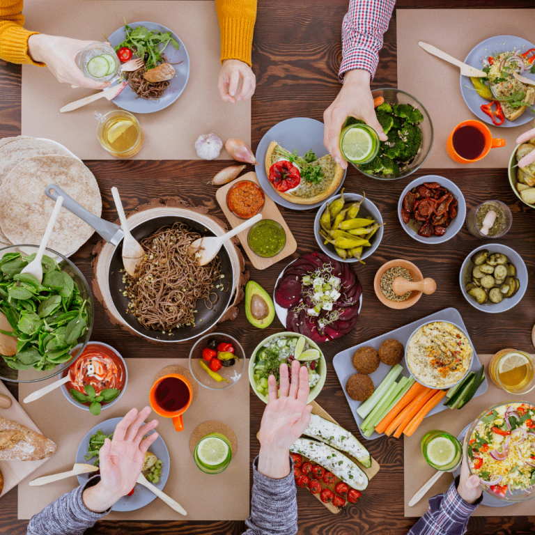 image of table full of food ready to eat